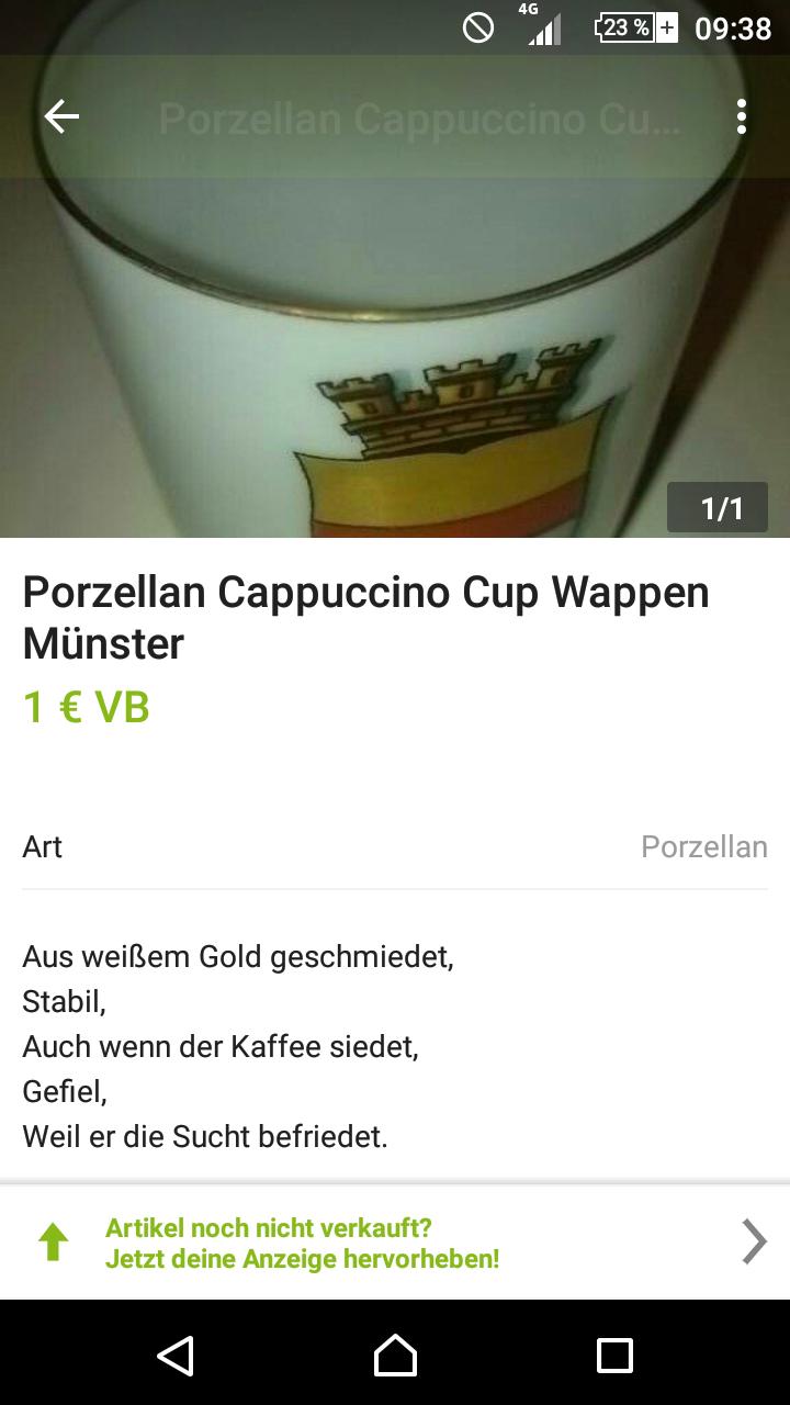 Ebay Kleinanzeigenlyrik Porzellan Cappuccino Cup